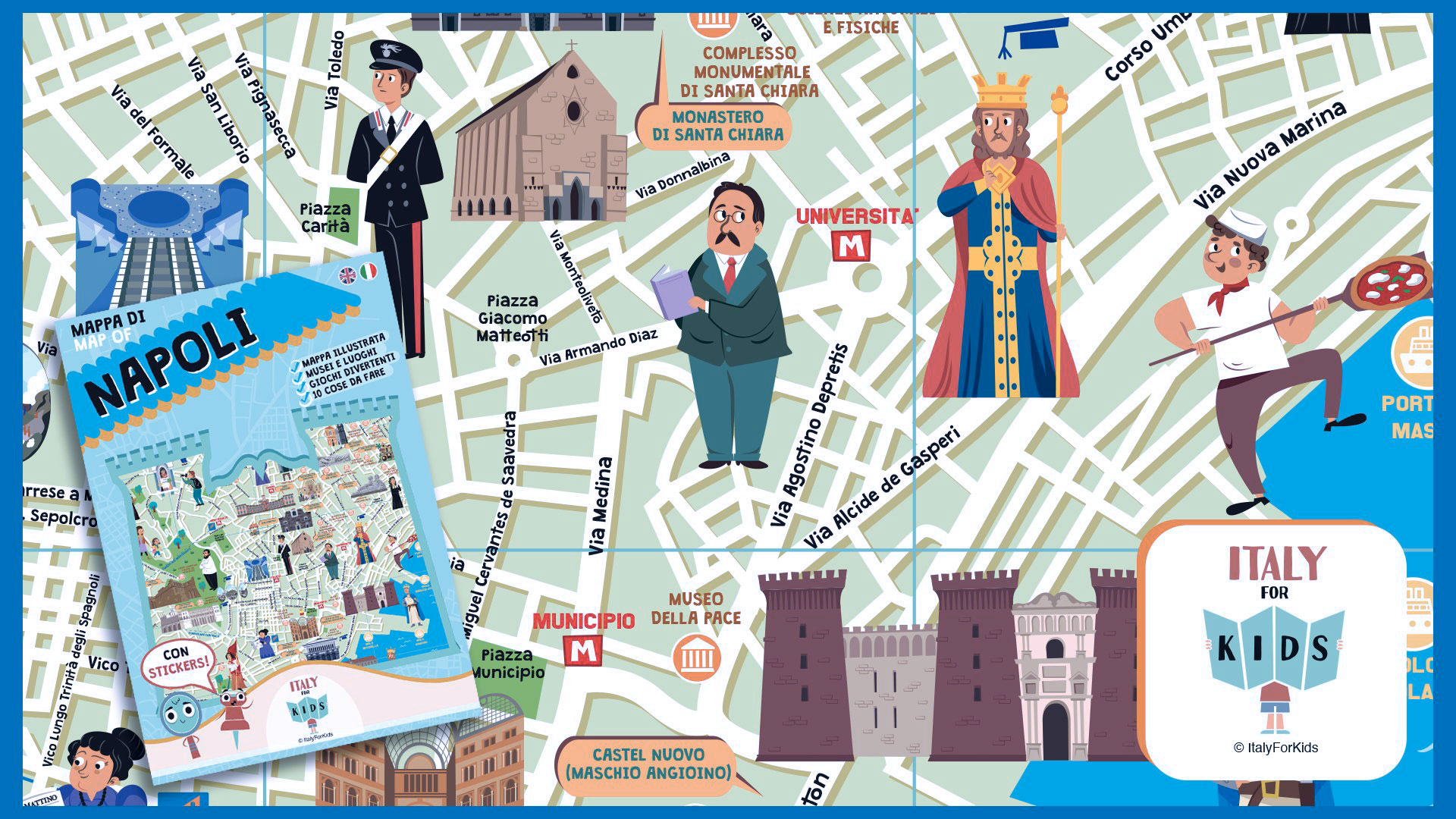 La Cartina Di Napoli.Italy For Kids La Mappa Di Napoli